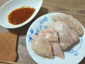 豚もも肉一口ステーキカットの低温真空調理