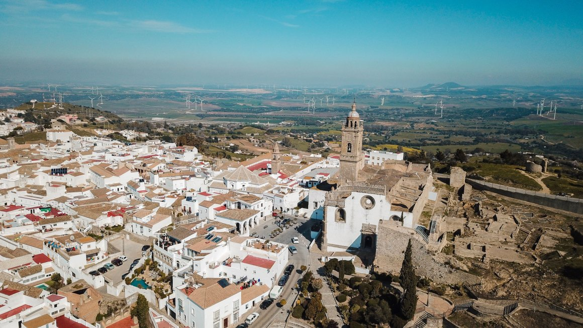 Landscape view of the city Medina Sidonia from the top