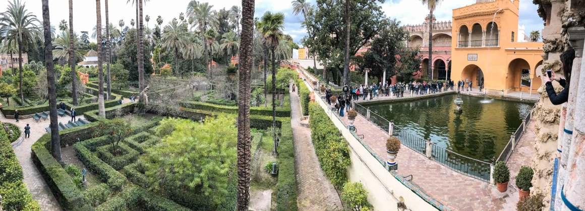 Magnificent garden of the Real Alcazar de Seville with orange building