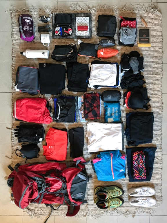 neatly organized backpack for her