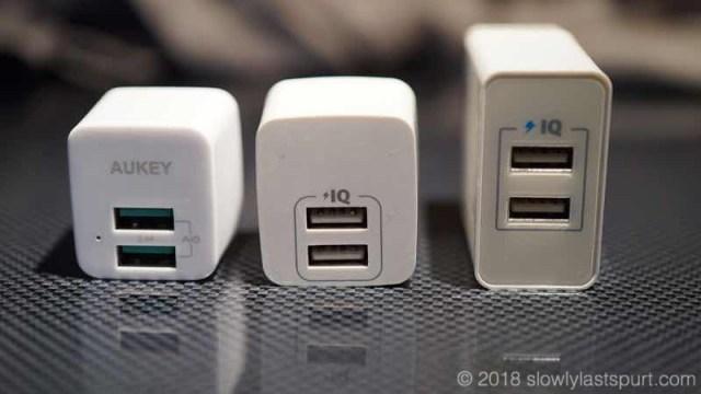 Anker 24W 2ポート USB急速充電器とAUKEY PA-U32&Anker PowerPort mini 超小型USB充電器を能力比較