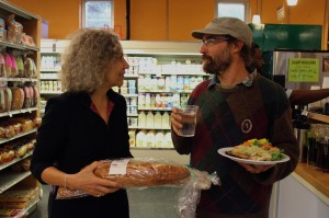 Carol Hewitt and Jordan Puryear – two of the co-founders of Slow Money NC – enjoying their local coop grocery store, Chatham Marketplace, in Pittsboro, NC