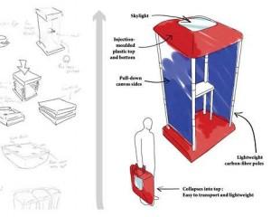 "Core77.com의 ""1시간 디자인 과제: 미래의 투표소"" 2위, 접이식 투표소"