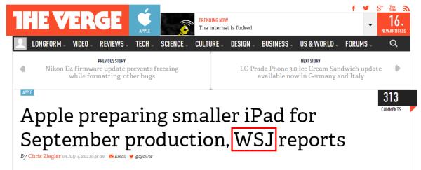 제목에 정확히 표기된 WSJ