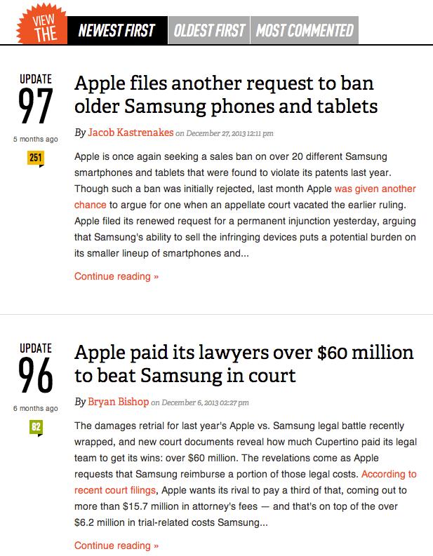 [그림 2] 더버지(theVerge.com)의 삼성과 애플의 경쟁관련 이야기 흐름