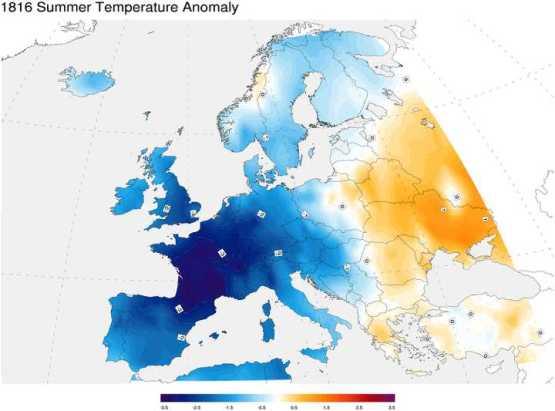 1816년 당시 북유럽의 온도 추정 그래픽