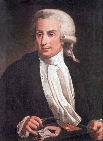 루이지 갈바니(1737-1798): 전기를 흘렸을때 경련을 일으키는 개구리 사체실험으로 생체전기 학설을 주장했다.
