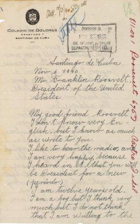 한 쿠바 소년이 루스벨트에게 보낸 편지의 일부 (출처: archives.gov https://research.archives.gov/id/302040)