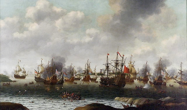 Dutch Attack on the Medway, June 1667 by Pieter Cornelisz van Soest, painted c. 1667.