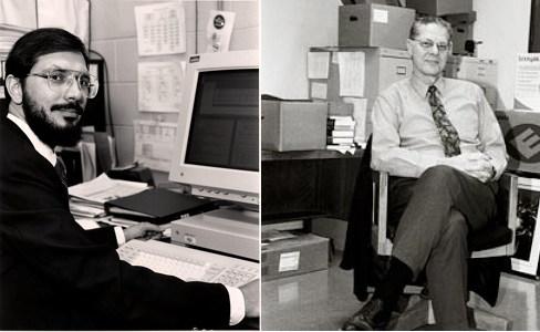 중력 연구의 새로운 가능성을 연 새로운 종류의 펄서를 발견한 공로로 러셀 앨런 헐스(왼쪽)과 조지프 후턴 테일러 주니어는 노벨 물리학상(1993)을 받았다.