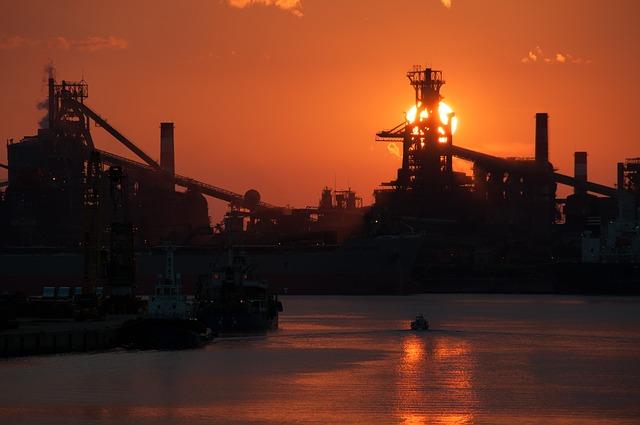 중공업 선셋 황혼 노을 바다 항구 조선업