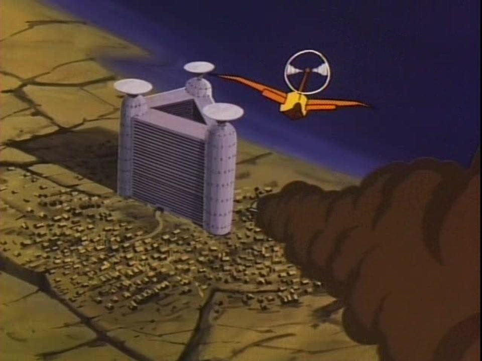 미야자키 하야오의 [미래소년 코난] (1978)에 나오는 가상 국가 '인더스트리아'의 중심 건물 '삼각탑'. 코난은 원시 농촌 공동체와 미래 과학기술 문명의 충돌을 기본적인 골격으로 한다.
