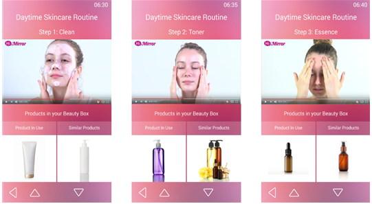스마트미러의 영상을 통해 피부관리 절차를 손쉽게 따라할 수 있도록 한다.