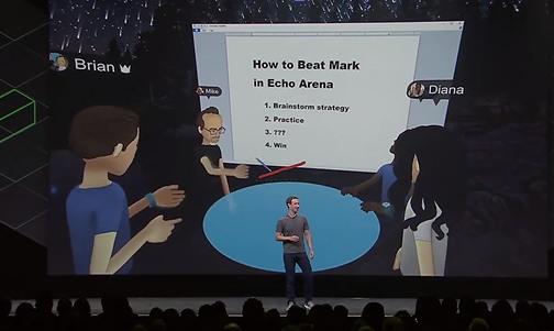 여러 도시에 떨어져 있는 페이스북 스페이스 팀이 실제로 페이스북 스페이스에 모여 이 같은 방법으로 회의하고 있다.