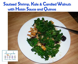 Sauteed Shrimp, Kale & Candied Walnuts with Hoisin Sauce and Quinoa