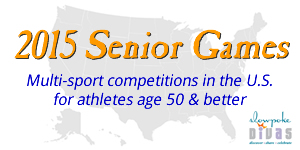 2015 Senior Games: multi-sport competitions in the U.S. for athletes afe 50 or better. Background image is a map of the U.S.