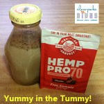 Photo of Manitoba Harvest's chocolate-flavored Hemp Pro70 protein powder and a jar of the product mixed in a jar.