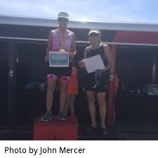 Color photo of Melodie Cronenberg, winner of her age group in the Olympic distance at Sand Hollow Triathlon.
