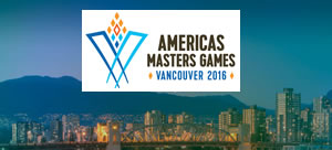 Photo of Americas Masters Games logo with Vancouver skyline in background