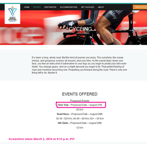 Screenshot of the Americas Masters Games' cycling page as of March 2, 2016