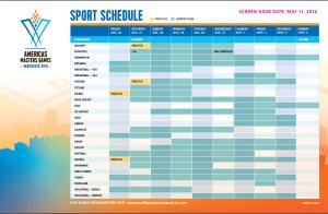Full color screen shot of the final Americas Masters Games' event schedule