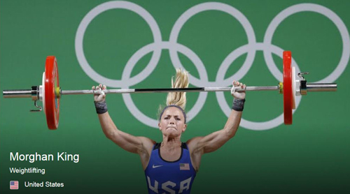 U.S. women's weightlifter Morghan King successfully lifts her weights at 2016 Summer Olympic Games in Rio.