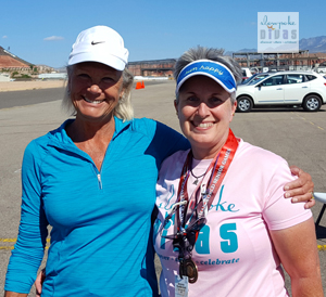 Color photo of Bonnie Parrish-Kell with three-time Olympic swimming champion Debbie Meyer.