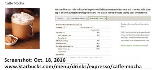 screenshot of Starbucks mocha caffe nutritional information