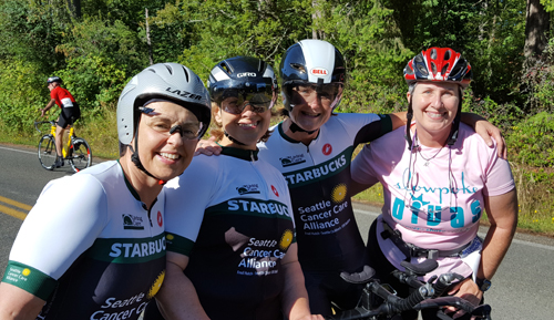 color photo of Starbucks women's cycling team and Bonnie Parrish-Kell