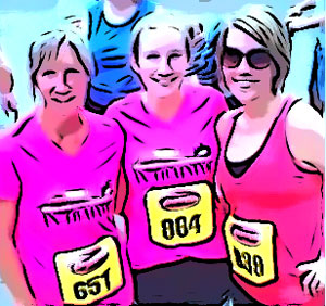 color illustration of three generations of women following a running race