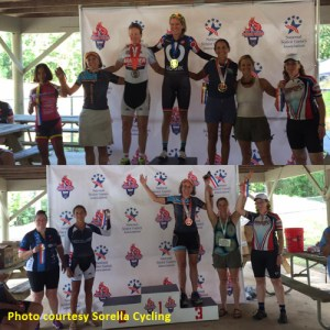 Color photo of top finishers in women's 5K and 10K cycling time trials at the 2017 National Senior Games.