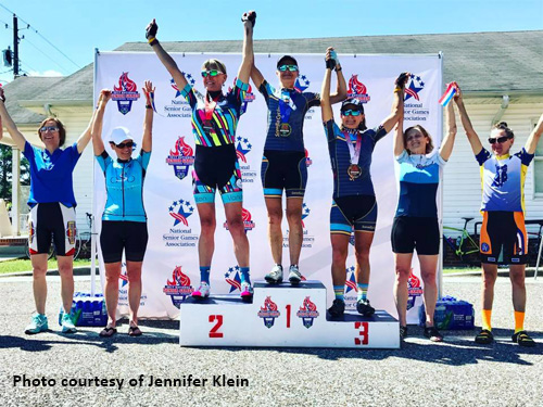 Top finishers in the women's 20K cycling road race at 2017 National Senior Games