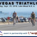 image of cyclists leaving transition during Las Vegas Triathlon