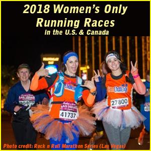 three women running in rock n roll marathon las vegas