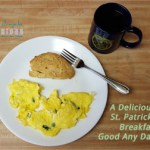 scrambled eggs, scone, coffee