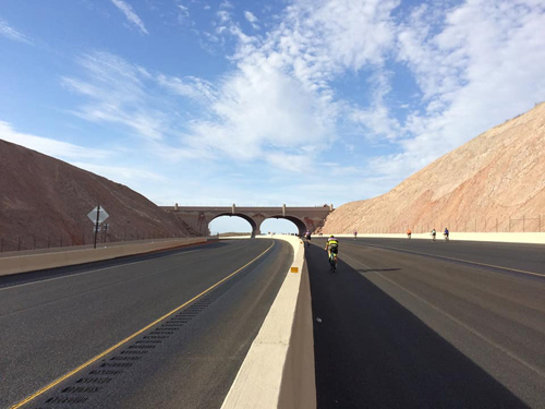 Cyclists climbing up Interstate 11 from ride's turnaround. Photo credit: Southern Nevada Bicycle Coalition