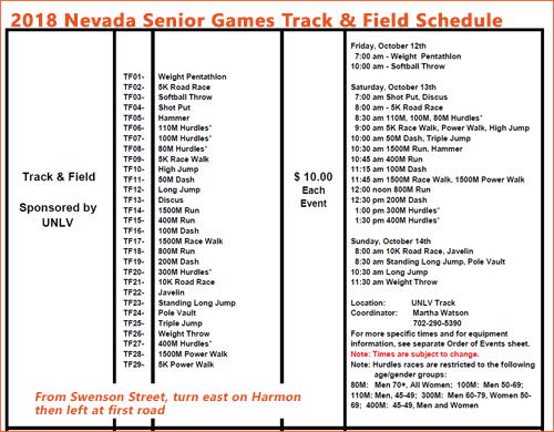 2018 Nevada Senior Games track and field schedule - unofficial