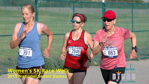 Three women compete in race walk at the 2019 National Senior Games