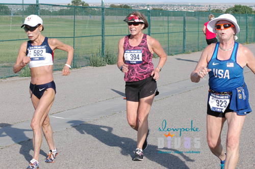 3 women compete in the 5K race walk at the 2019 National Senior Games.