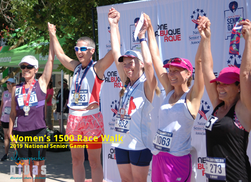 Top five women in 1500m race walk, W60 age group, including Shea Darian (second from left) who set a new NSGA record