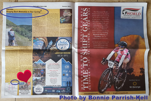 Color photo of page 6 and 7 in Cycling West summer 2019 issue.
