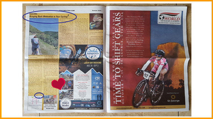 July 2019 issue of Cycling West two-page Sarah Kaufman story, Huntsman World Senior Games ad