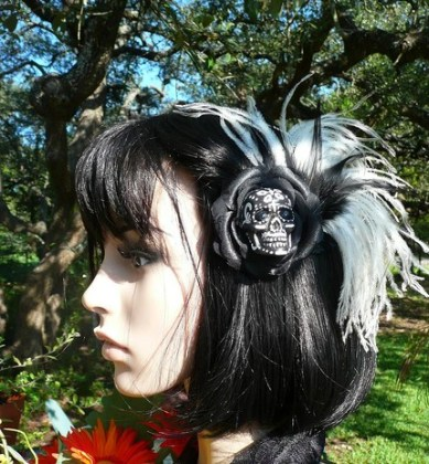 DIA DE LOS MUERTOS Hand Painted Black and White Skull Hair Clip Fascinator