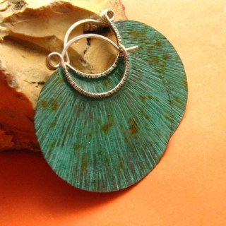 Large Copper Verdigris Hoop Earrings - Unearthed