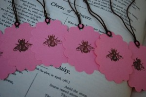 Gift Tags - Tiny Brown Bee on Parisian Pink - Set of Ten (10)