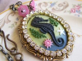 Sassy Seahorse, Cabochon, Rhinestone Necklace