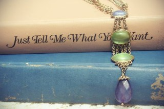 Green Purple Drop Necklace