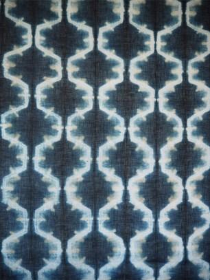 Indigo and iron oxide on linen