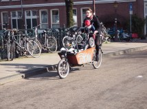 A mother carrying her child and baby carriage while cycling