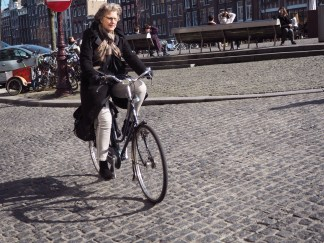An older lady cycling